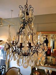 19th c french crystal and bronze chandelier