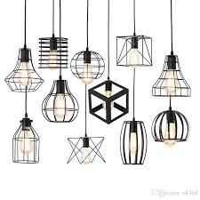 modern black cage art pendant lights iron minimalist e27 nordic loft pyramid retro industrial pendant lamp metal hanging lamp ceiling light shade lantern