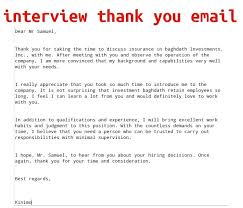 Interview Thank You Email Thank You For The Interview Email Template