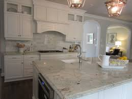 White Kitchen Granite Countertops White Kitchen Dark Wood Floors Marble Backsplash Colonial White