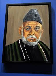 a portrait of afghan president hamid karzai which is part of the exhibit the art