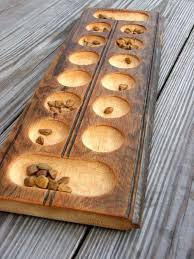Game With Rocks And Wooden Board Mesmerizing Mancala Game Made From Old Beadboard Use Small Shells Or Tumbled