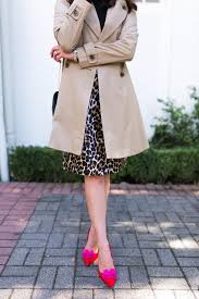 trench coat leopard pencil skirt fashion blogger