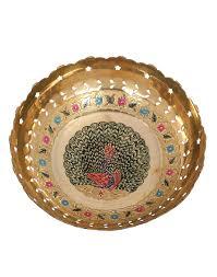 Gold Decorative Bowl Rajrang Vintage Indian Art Gold Brass Peacock Enamel Work Gift