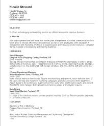 Objective For Resume Retail Impressive Resume Retail Sales Examples Manager Creerpro