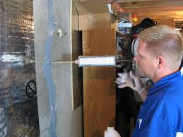 foundation injection stops water leaks into a basement on contact with water the polyurethane