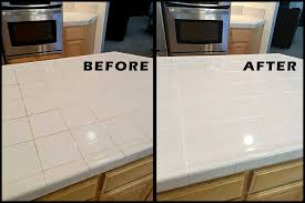before and after of tile grout color sealing