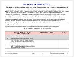 Iso 45001 2018 Internal Audit Checklist
