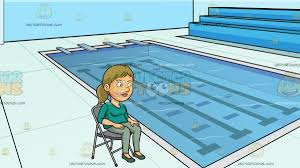A Woman Sitting On A Folding Chair At Indoor Olympic Size Swimming