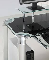 innovex glass computer desk with tower shelf