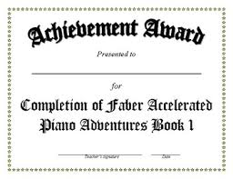 Completion Certificates Faber Completion Certificates