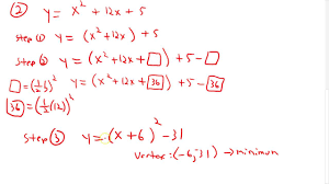 convert to vertex form by completing the square