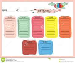 Cute Weekly Planner Stock Vector Illustration Of Planner 70447819