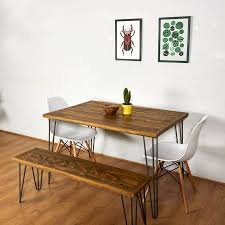 Sleek Bench Hairpin Legs Bench Bench Table Breakfast Nook Table Together  With Reclaimed Pallet Table in