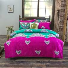 national boho chic bedding set flowers duvet coverbed sheetpillowcase bedclothes double twin queen size green fuschia