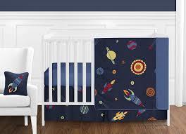 Sweet Jojo Designs Space Galaxy 11pc Crib Bedding Set Blue Sweet Jojo Designs 11 Piece Space Galaxy Rocket Ship Planet Galactic Baby Boy Or Girl Bedding Crib Set Without Bumper