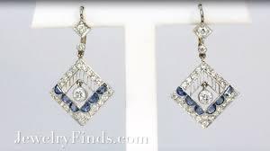 antique edwardian blue sapphire diamond chandelier earrings platinum 18k yellow gold