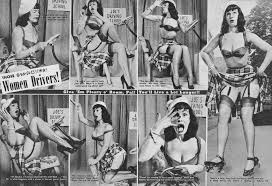 gender role a magazine feature from beauty parade from 1952 stereotyping women drivers it features bettie page as the model