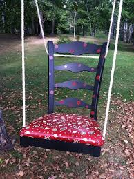 chair swing in red with black enamel