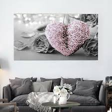 45x80cm pink heart rose canvas wall art