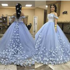 Light Blue Quince Dress Light Blue Sweet 16 Quinceanera Dresses 2019 Ball Gown Off Shoulder 3d Floral Vestido 15 Anos Masquerade Birthday Prom Party Gowns Big Puffy