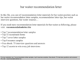 Sample Of Recommendation Letter Enchanting Bar Waiter Recommendation Letter