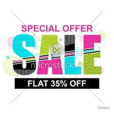 Special Offer Sale With Flat 35 Off Colorful Typographic Background Creative Poster Banner Or Flyer Design Vector Illustration
