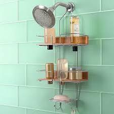 Bathroom:Modern Three Tier Shower Caddy Ideas And Round Floating Shower  Head On Soft Blue