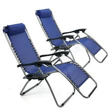 Set of 2 Navy Zero Gravity Reclining Lounge Pool Outdoor Chair