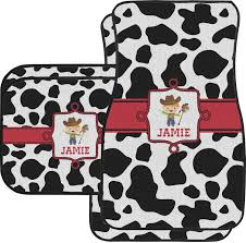 cowprint w cowboy car floor mats set 2 front 2 back personalized