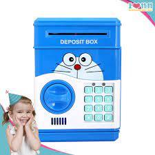 Ống heo két sắt mini có mật mã đồ chơi mô hình nhân vật phim hoạt hình Đôrê  dùng pin cho bé