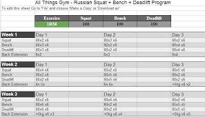 Bench Press Cycle Chart Russian Squat Routine Spreadsheet Calculator Update