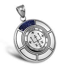 sigil of archangel raphael magic medallion angel amulet blue goldstone pendant 18 inch necklace