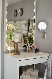 a chic makeup space with a micke desk an acrylic chair a lit up