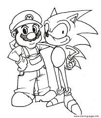 Small Picture Mario And His Friend Sonic Coloring Pages Printable
