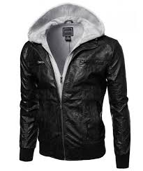 men s refined faux leather moto jacket with fleece hood attached