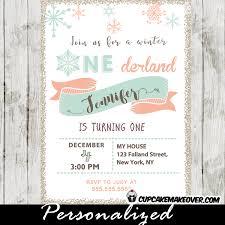 Snowflake Birthday Invitations Winter Onederland Birthday Invitations Coral Pink Tiffany