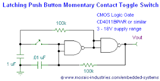 push button on off soft latch circuits battery powered touch circuit schematic of two nand gates positive feedback creates a toggle latch