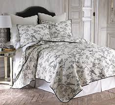 black toile bedding. Modren Bedding Levtex Black Toile FullQueen Cotton Quilt Set Black White Throughout Bedding