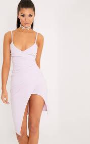 Kylie Mauve Wrap Front Crepe Midi Dress