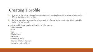 ea offender profiling 5 creating a profile