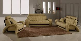Modern Living Room Set Leather Modern Living Room Set 4pc Bentley Beige Bn B201