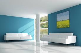 blue and white modern house interior
