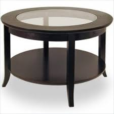 Winsome Genoa Round Wood Coffee Table With Glass Top In