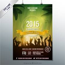Party Templates Summer Party Poster Template Vector Free Download
