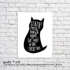 Cat Art Print <b>Crazy Cat Lady</b> Funny Cat Quote Poster Cat <b>Silhouette</b> ...