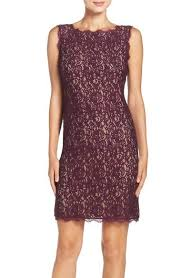 Adrianna Papell Boatneck Lace Sheath Dress (Regular & Petite) available at  #Nordstrom   Petite cocktail dresses, Lace sheath dress, Dresses