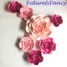 Pink Paper Flower Decorations 2019 Half Made Pink Giant Craft Supplies Artificial Flowers Paper Flower Wall For Wedding Party Decorations Home Deco Fake Flowers Diy Model From
