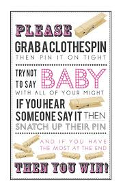 Don't Say Baby, Clothespin Game, Pink Printable Baby Shower Games ...