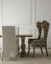image of dining room decoration using colorful wing back grey and orange pattern dining chair including dining room sets upholstered chairs